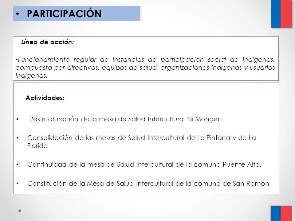 PARTICIPACIÓN Línea de acción: Funcionamiento regular de instancias de participación social de indígenas, compuesta por directivos, equipos de salud, organizaciones indígenas y usuarios indígenas.
