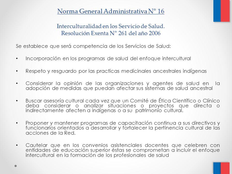 Norma General Administrativa N° 16 Interculturalidad en los Servicio de Salud.