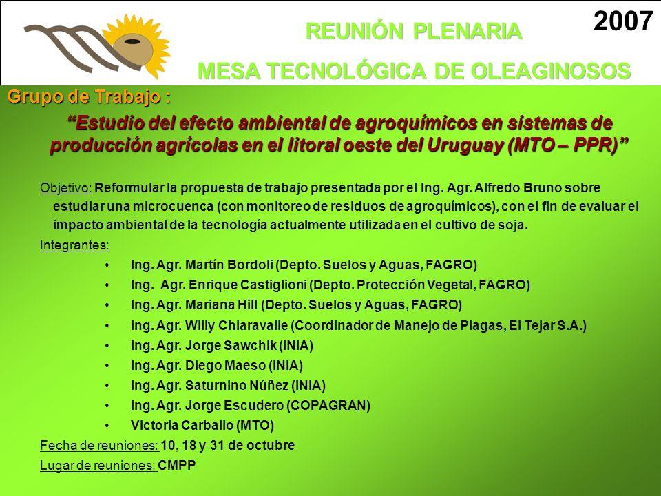 2007 Grupo de Trabajo : Estudio del efecto ambiental de agroquímicos en sistemas de producción agrícolas en el litoral oeste del Uruguay (MTO – PPR) O