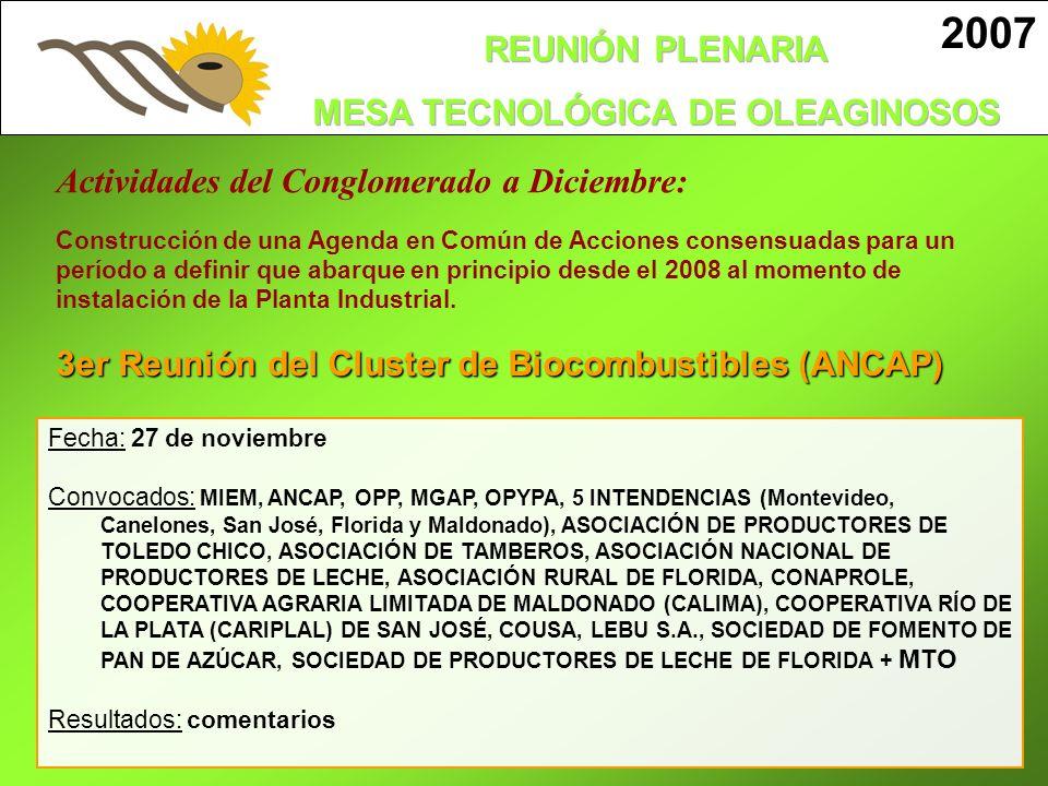 3er Reunión del Cluster de Biocombustibles (ANCAP) Fecha: 27 de noviembre Convocados: MIEM, ANCAP, OPP, MGAP, OPYPA, 5 INTENDENCIAS (Montevideo, Canel