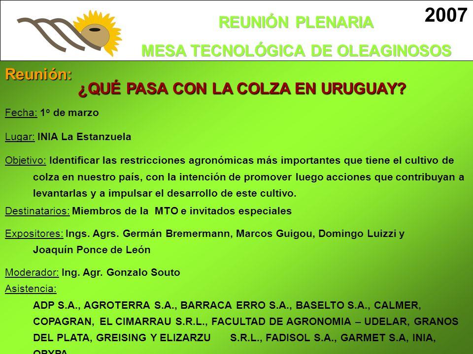 Fecha: 1 o de marzo Lugar: INIA La Estanzuela Objetivo: Identificar las restricciones agronómicas más importantes que tiene el cultivo de colza en nue