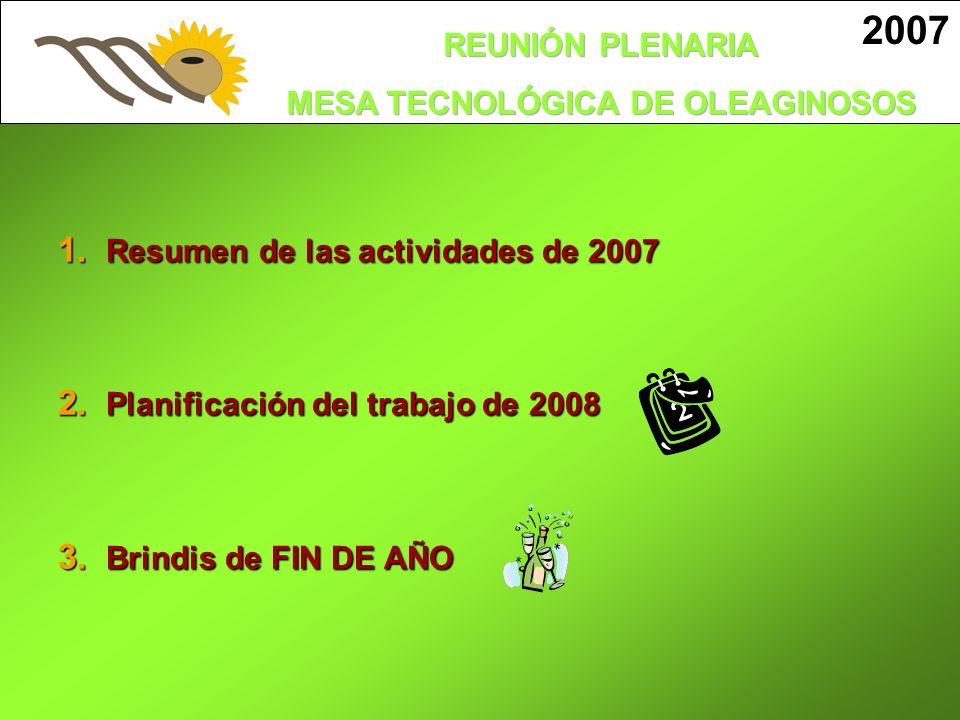 1. Resumen de las actividades de 2007 2. Planificación del trabajo de 2008 3. Brindis de FIN DE AÑO