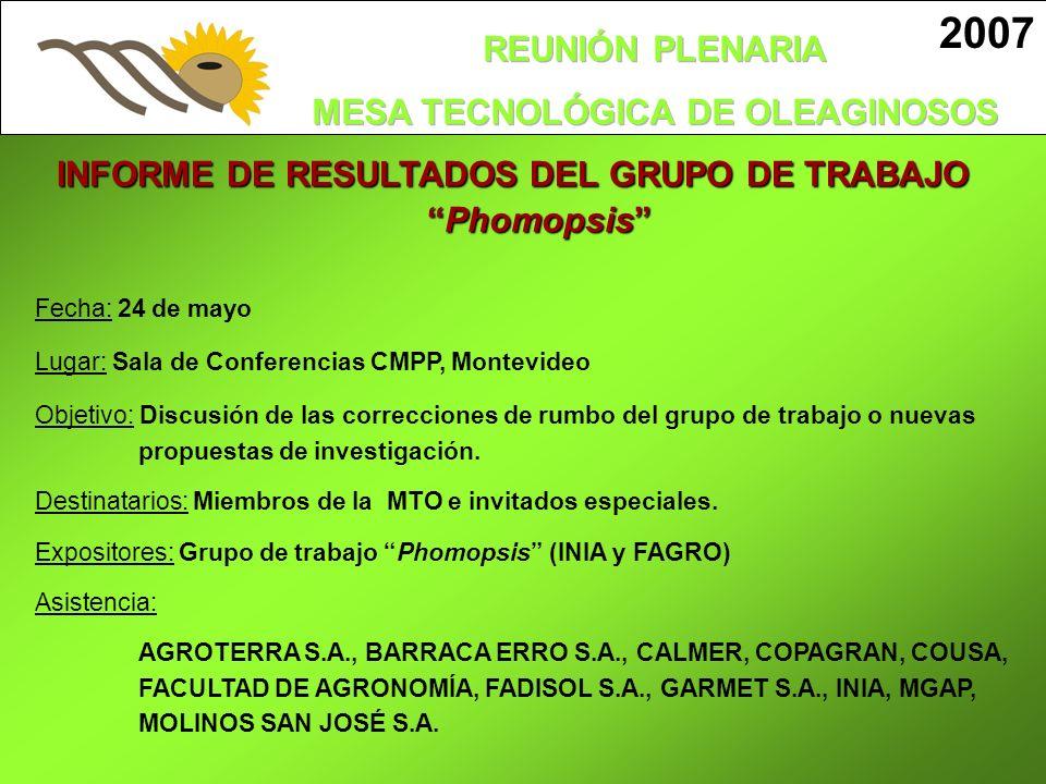 INFORME DE RESULTADOS DEL GRUPO DE TRABAJOPhomopsis 2007 Fecha: 24 de mayo Lugar: Sala de Conferencias CMPP, Montevideo Objetivo: Discusión de las cor