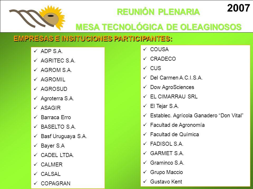 EMPRESAS E INSITUCIONES PARTICIPANTES: 2007 ADP S.A. AGRITEC S.A. AGROM S.A. AGROMIL AGROSUD Agroterra S.A. ASAGIR Barraca Erro BASELTO S.A. Basf Urug