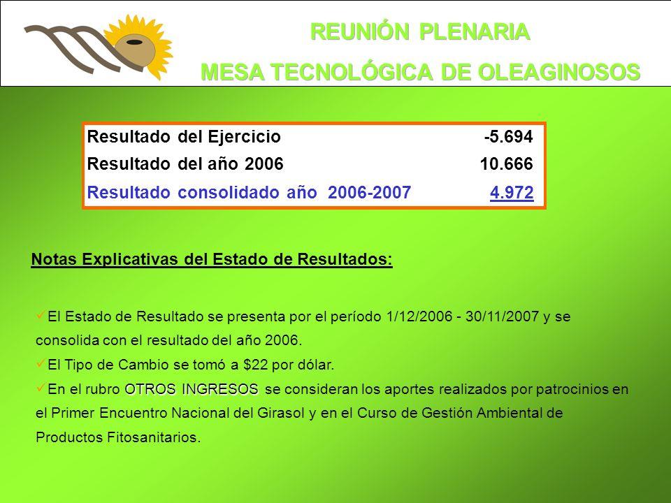 Notas Explicativas del Estado de Resultados: El Estado de Resultado se presenta por el período 1/12/2006 - 30/11/2007 y se consolida con el resultado