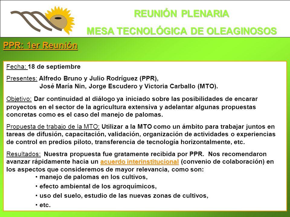 PPR: 1er Reunión Fecha: 18 de septiembre Presentes: Alfredo Bruno y Julio Rodríguez (PPR), José María Nin, Jorge Escudero y Victoria Carballo (MTO). O