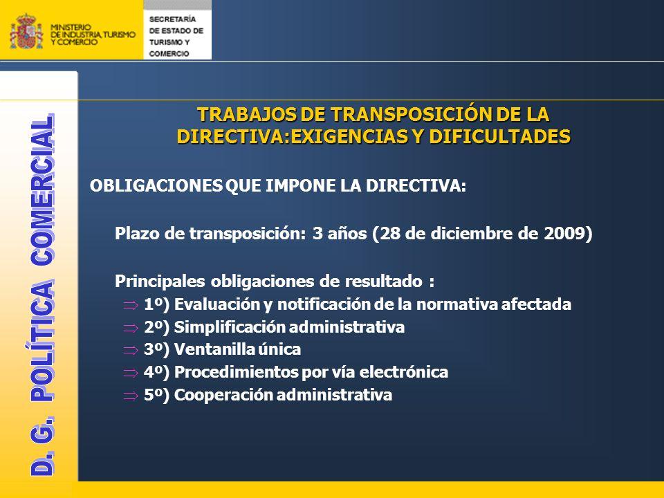 TRABAJOS DE TRANSPOSICIÓN DE LA DIRECTIVA:EXIGENCIAS Y DIFICULTADES OBLIGACIONES QUE IMPONE LA DIRECTIVA: Plazo de transposición: 3 años (28 de diciem
