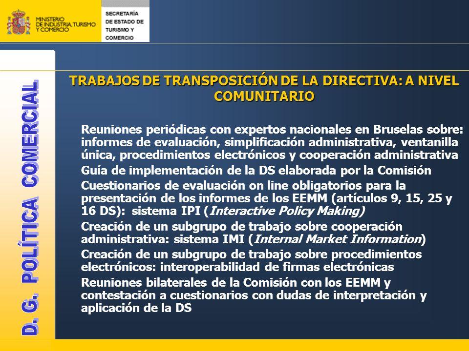 TRABAJOS DE TRANSPOSICIÓN DE LA DIRECTIVA: A NIVEL COMUNITARIO Reuniones periódicas con expertos nacionales en Bruselas sobre: informes de evaluación,
