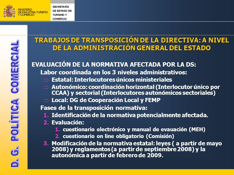 TRABAJOS DE TRANSPOSICIÓN DE LA DIRECTIVA: A NIVEL DE LA ADMINISTRACIÓN GENERAL DEL ESTADO EVALUACIÓN DE LA NORMATIVA AFECTADA POR LA DS: Labor coordinada en los 3 niveles administrativos: Estatal: Interlocutores únicos ministeriales Autonómico: coordinación horizontal (Interlocutor único por CCAA) y sectorial (Interlocutores autonómicos sectoriales) Local: DG de Cooperación Local y FEMP Fases de la transposición normativa: 1.Identificación de la normativa potencialmente afectada.