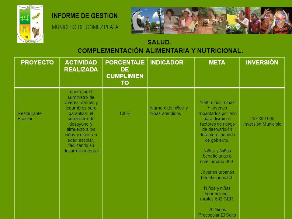 INFORME DE GESTIÓN MUNICIPIO DE GÓMEZ PLATA SALUD.
