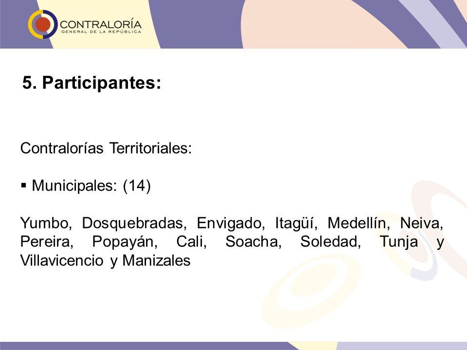 Contralorías Territoriales: Municipales: (14) Yumbo, Dosquebradas, Envigado, Itagüí, Medellín, Neiva, Pereira, Popayán, Cali, Soacha, Soledad, Tunja y