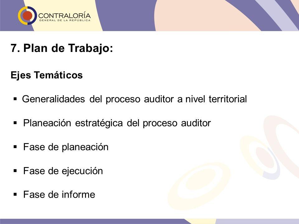 7. Plan de Trabajo: Ejes Temáticos Generalidades del proceso auditor a nivel territorial Planeación estratégica del proceso auditor Fase de planeación