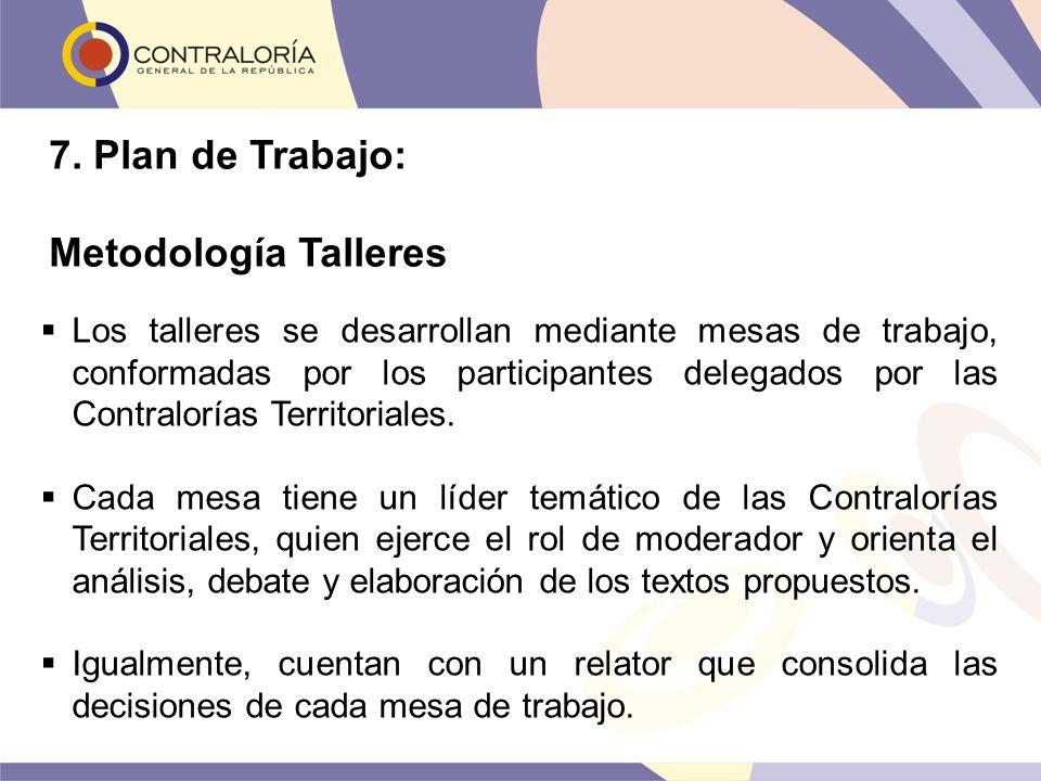 Los talleres se desarrollan mediante mesas de trabajo, conformadas por los participantes delegados por las Contralorías Territoriales. Cada mesa tiene