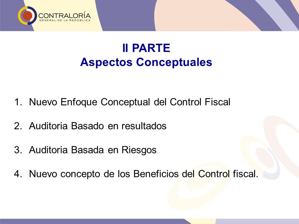 II PARTE Aspectos Conceptuales 1.Nuevo Enfoque Conceptual del Control Fiscal 2.Auditoria Basado en resultados 3.Auditoria Basada en Riesgos 4.Nuevo co