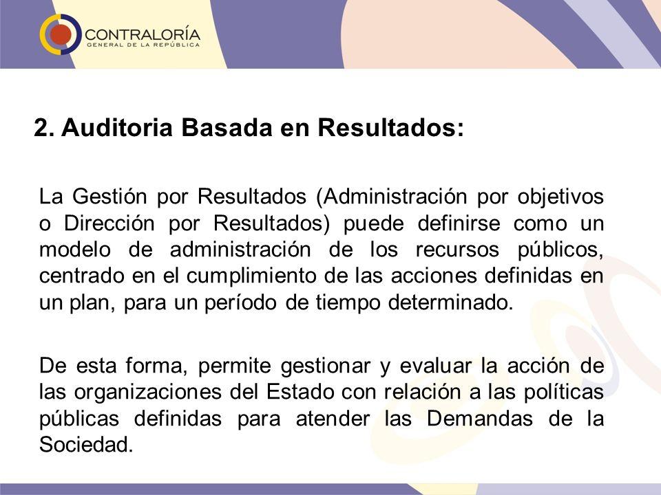 2. Auditoria Basada en Resultados: La Gestión por Resultados (Administración por objetivos o Dirección por Resultados) puede definirse como un modelo