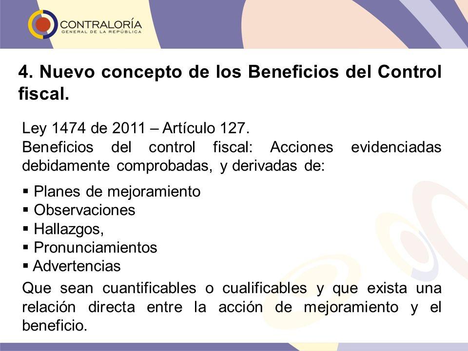 Ley 1474 de 2011 – Artículo 127. Beneficios del control fiscal: Acciones evidenciadas debidamente comprobadas, y derivadas de: Planes de mejoramiento