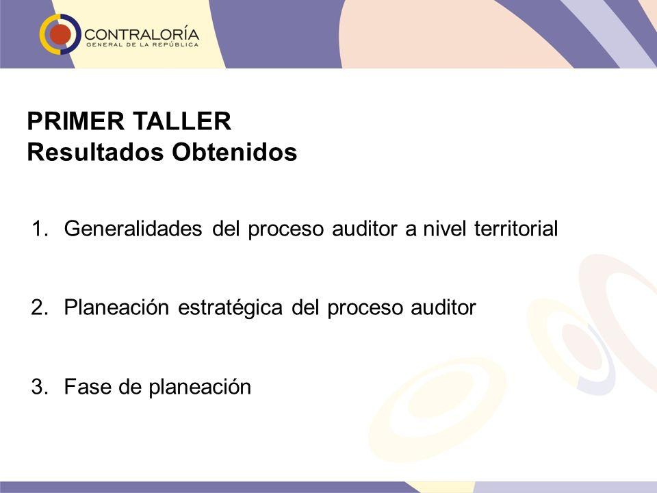 PRIMER TALLER Resultados Obtenidos 1.Generalidades del proceso auditor a nivel territorial 2.Planeación estratégica del proceso auditor 3.Fase de plan