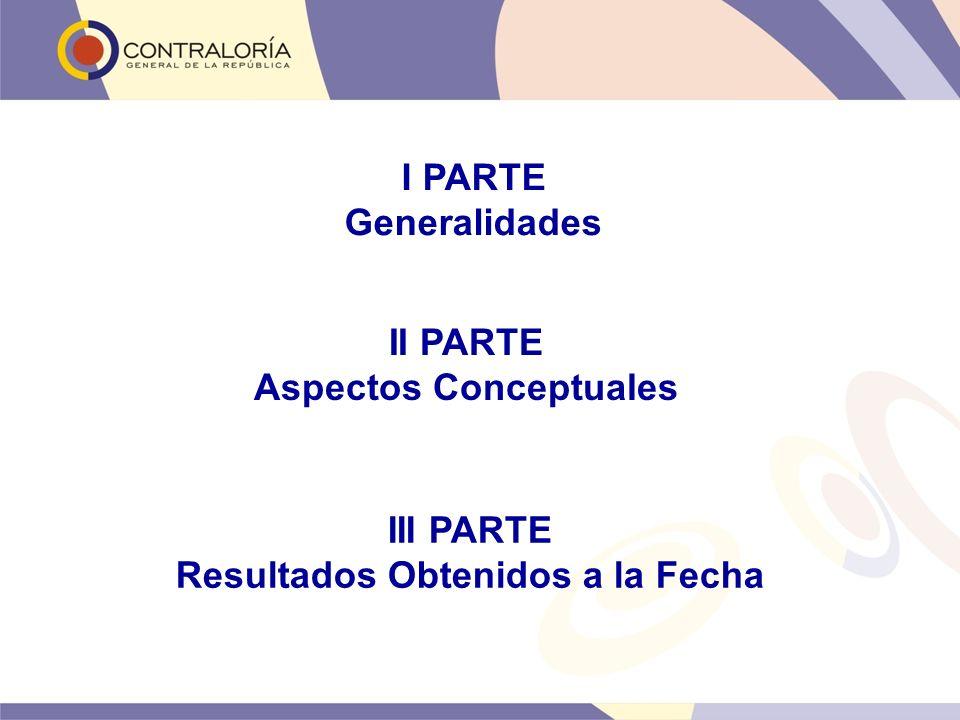 I PARTE Generalidades II PARTE Aspectos Conceptuales III PARTE Resultados Obtenidos a la Fecha