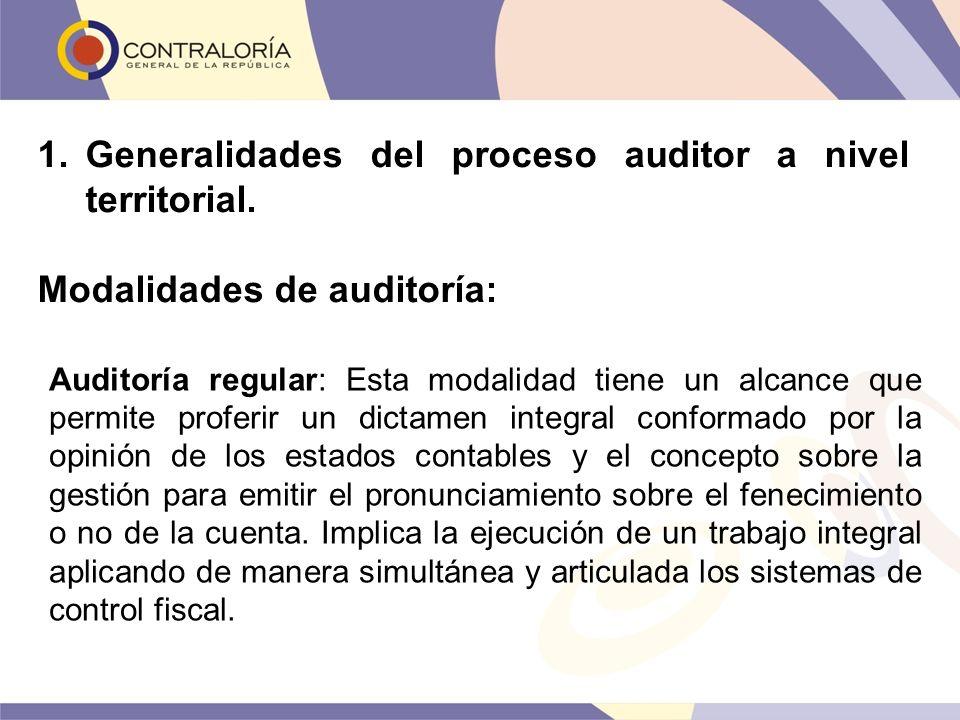 1.Generalidades del proceso auditor a nivel territorial. Modalidades de auditoría: Auditoría regular: Esta modalidad tiene un alcance que permite prof