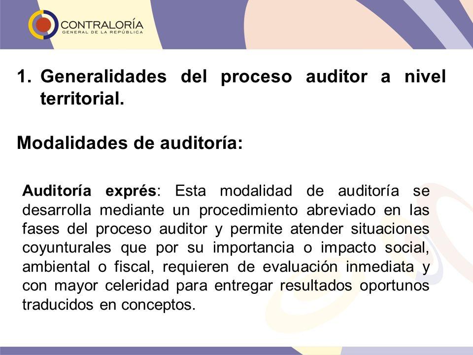1.Generalidades del proceso auditor a nivel territorial. Modalidades de auditoría: Auditoría exprés: Esta modalidad de auditoría se desarrolla mediant