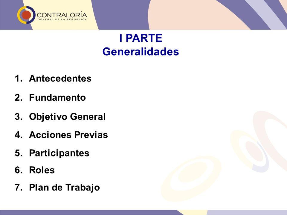 I PARTE Generalidades 1.Antecedentes 2.Fundamento 3.Objetivo General 4.Acciones Previas 5.Participantes 6.Roles 7.Plan de Trabajo