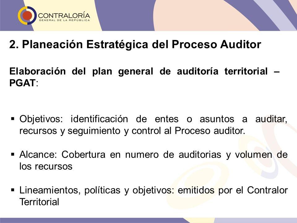 2. Planeación Estratégica del Proceso Auditor Elaboración del plan general de auditoría territorial – PGAT: Objetivos: identificación de entes o asunt
