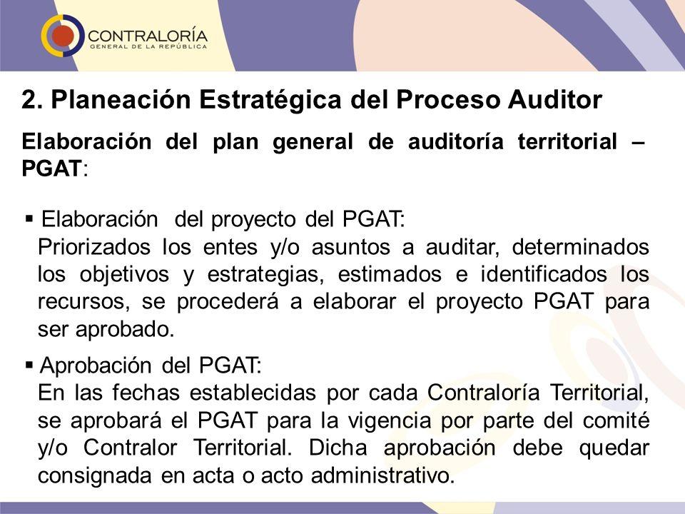 Elaboración del proyecto del PGAT: Priorizados los entes y/o asuntos a auditar, determinados los objetivos y estrategias, estimados e identificados lo