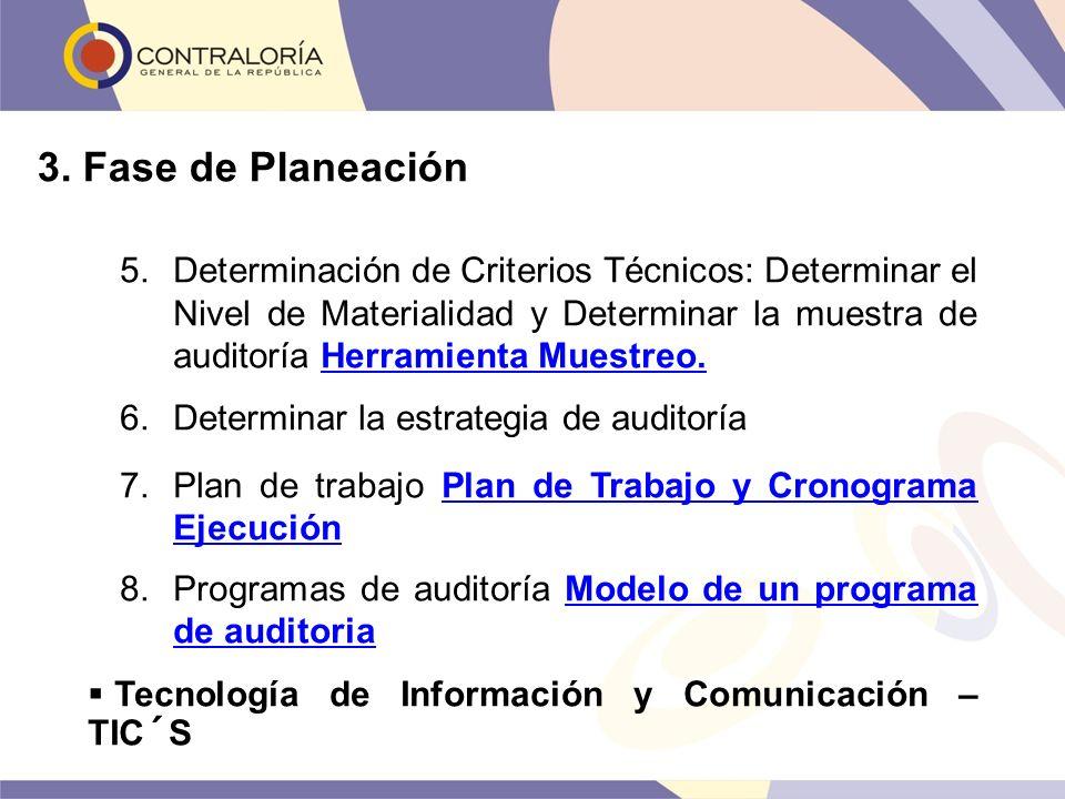 3. Fase de Planeación 5.Determinación de Criterios Técnicos: Determinar el Nivel de Materialidad y Determinar la muestra de auditoría Herramienta Mues