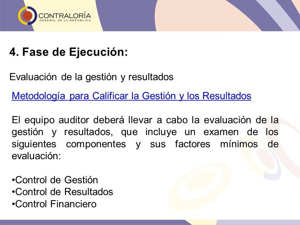 4. Fase de Ejecución: Evaluación de la gestión y resultados Metodología para Calificar la Gestión y los Resultados El equipo auditor deberá llevar a c