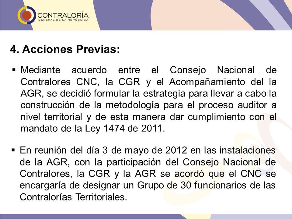 4. Acciones Previas: Mediante acuerdo entre el Consejo Nacional de Contralores CNC, la CGR y el Acompañamiento del la AGR, se decidió formular la estr