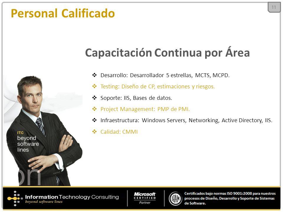 Desarrollo: Desarrollador 5 estrellas, MCTS, MCPD. Testing: Diseño de CP, estimaciones y riesgos. Soporte: IIS, Bases de datos. Project Management: PM