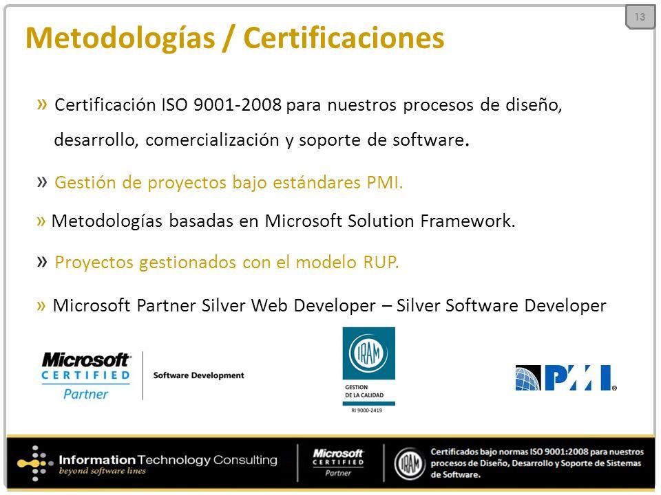 Metodologías / Certificaciones » Certificación ISO 9001-2008 para nuestros procesos de diseño, desarrollo, comercialización y soporte de software.