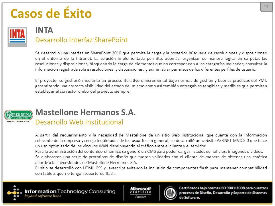 Casos de Éxito INTA Desarrollo Interfaz SharePoint Se desarrolló una interfaz en SharePoint 2010 que permite la carga y la posterior búsqueda de resoluciones y disposiciones en el entorno de la intranet.