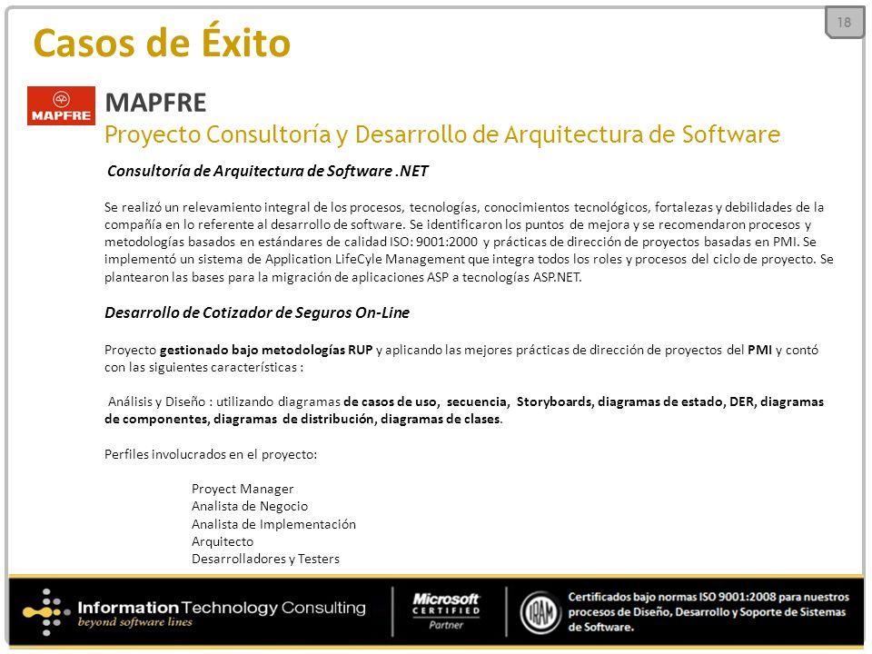 Casos de Éxito MAPFRE Proyecto Consultoría y Desarrollo de Arquitectura de Software Consultoría de Arquitectura de Software.NET Se realizó un relevamiento integral de los procesos, tecnologías, conocimientos tecnológicos, fortalezas y debilidades de la compañía en lo referente al desarrollo de software.