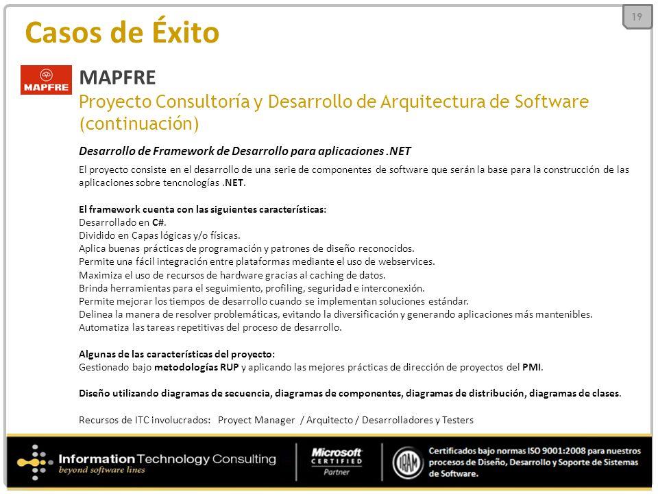 Casos de Éxito MAPFRE Proyecto Consultoría y Desarrollo de Arquitectura de Software (continuación) Desarrollo de Framework de Desarrollo para aplicaciones.NET El proyecto consiste en el desarrollo de una serie de componentes de software que serán la base para la construcción de las aplicaciones sobre tencnologías.NET.