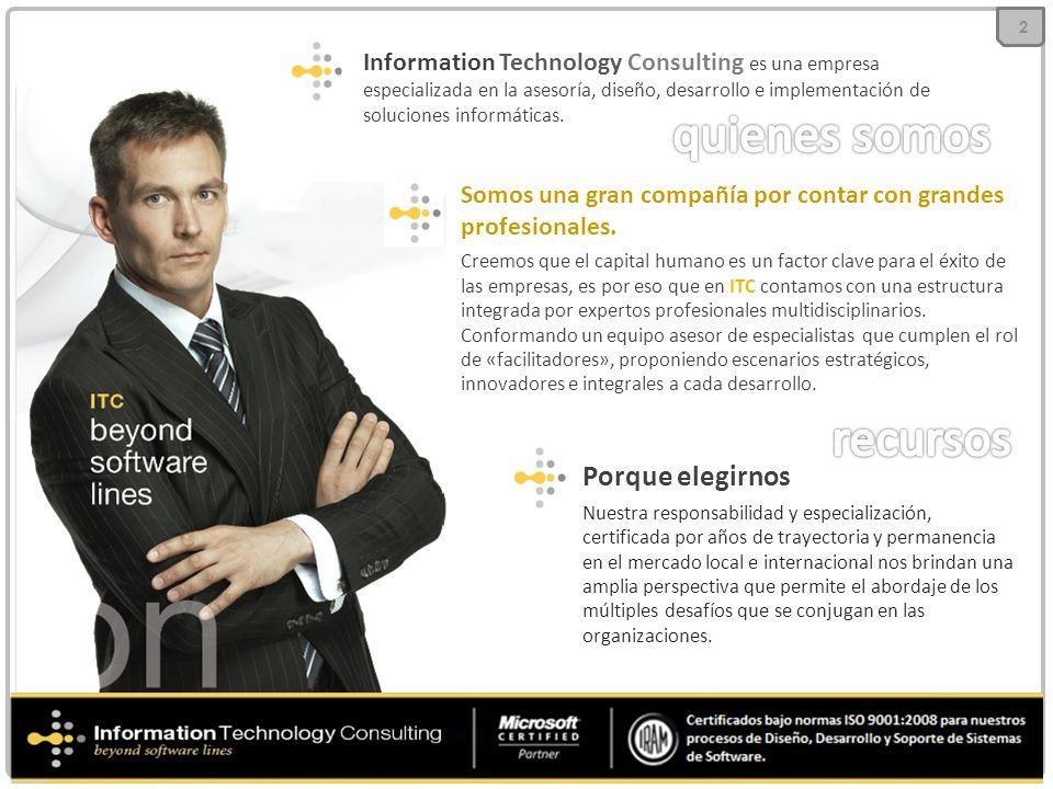 Information Technology Consulting es una empresa especializada en la asesoría, diseño, desarrollo e implementación de soluciones informáticas. Somos u
