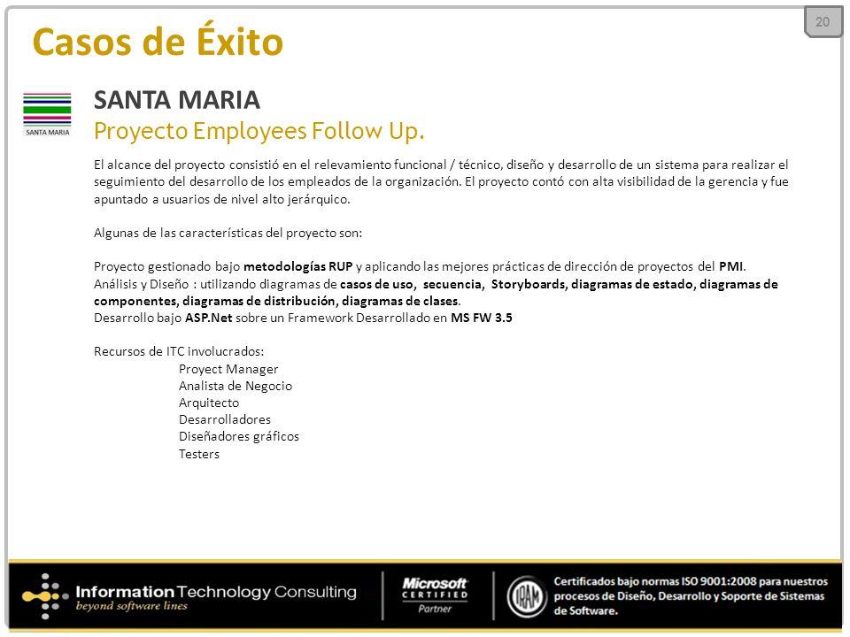 Casos de Éxito SANTA MARIA Proyecto Employees Follow Up. El alcance del proyecto consistió en el relevamiento funcional / técnico, diseño y desarrollo
