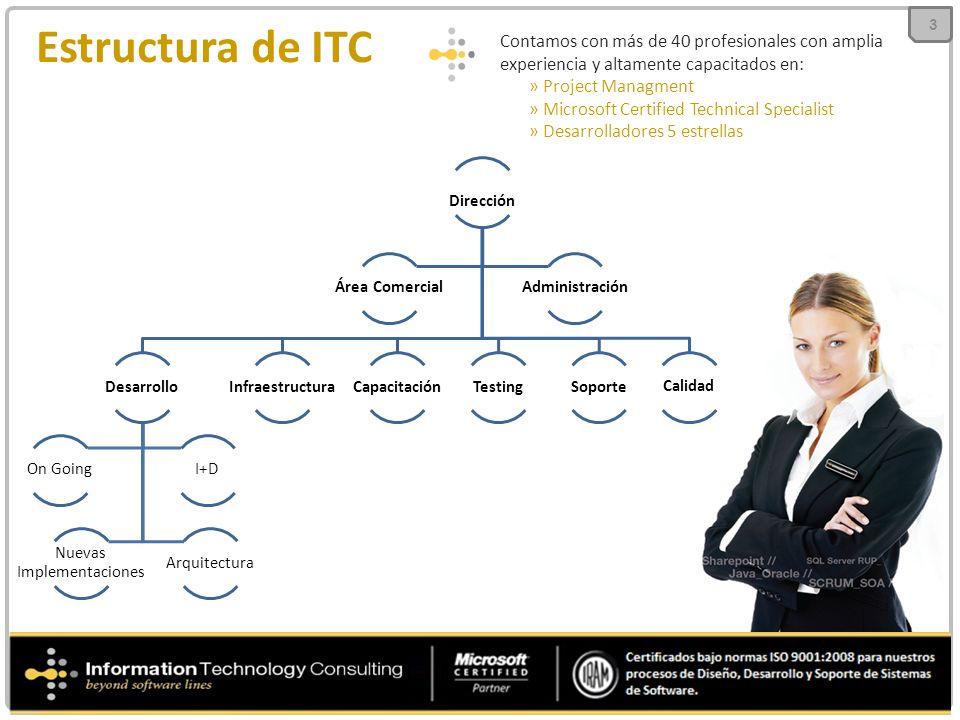 Dirección Desarrollo On Going Nuevas Implementaciones Arquitectura I+D InfraestructuraCapacitaciónTestingSoporte Calidad Área ComercialAdministración