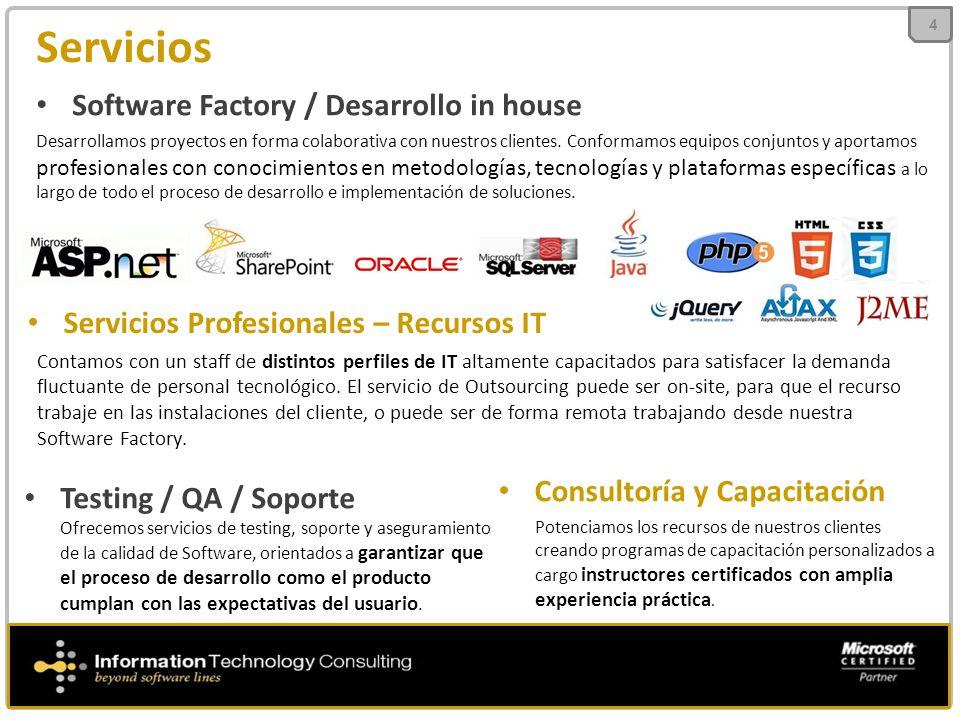 Servicios 4 Software Factory / Desarrollo in house Desarrollamos proyectos en forma colaborativa con nuestros clientes. Conformamos equipos conjuntos