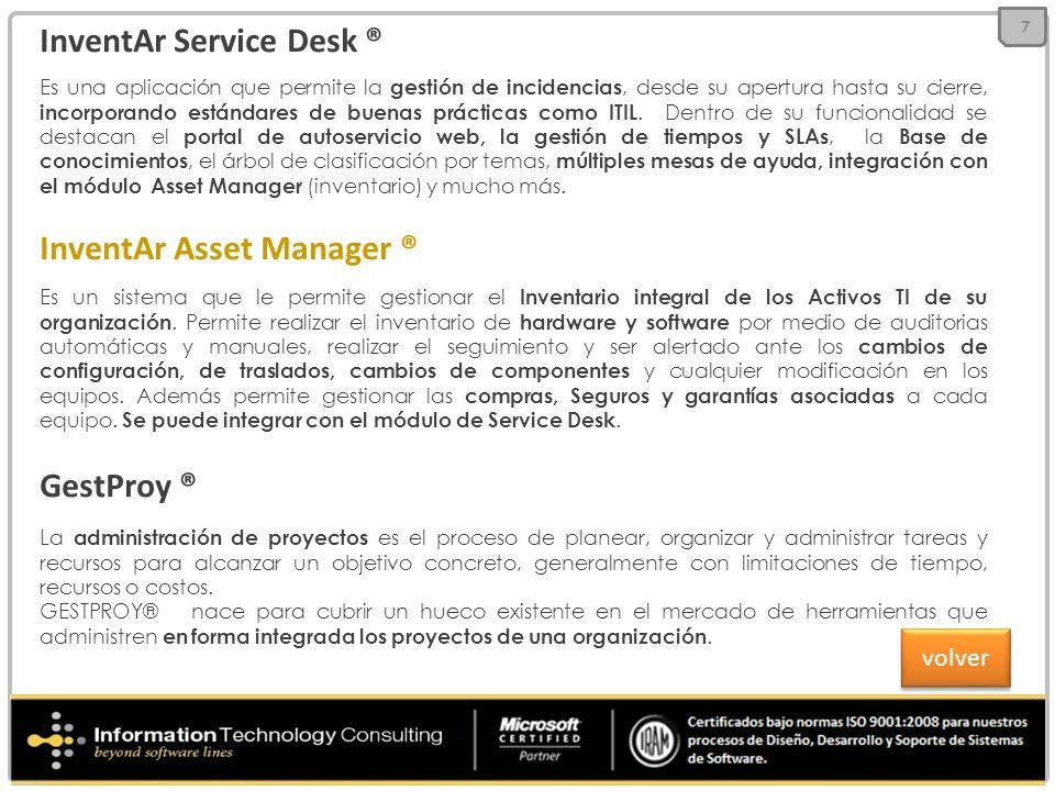 InventAr Service Desk ® Es una aplicación que permite la gestión de incidencias, desde su apertura hasta su cierre, incorporando estándares de buenas prácticas como ITIL.