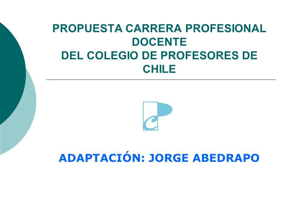 PROPUESTA CARRERA PROFESIONAL DOCENTE DEL COLEGIO DE PROFESORES DE CHILE ADAPTACIÓN: JORGE ABEDRAPO