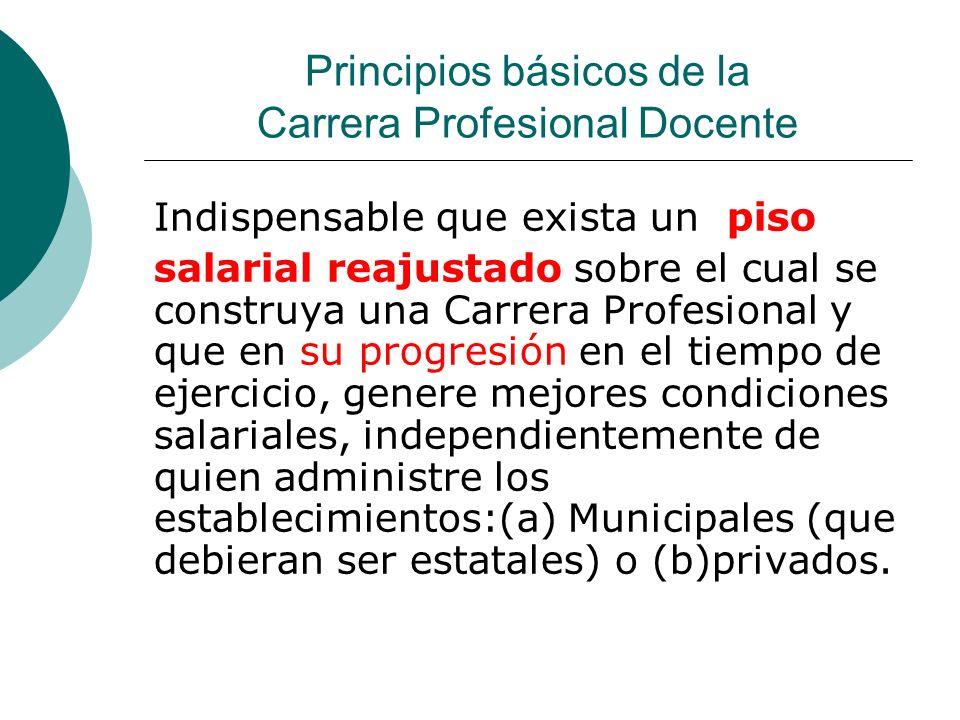 Principios básicos de la Carrera Profesional Docente Indispensable que exista un piso salarial reajustado sobre el cual se construya una Carrera Profe