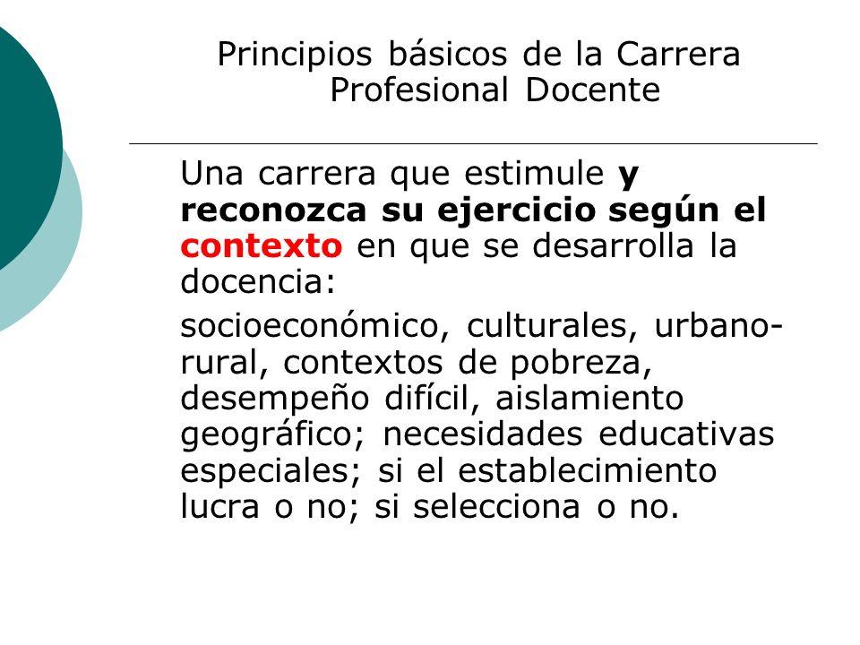 Principios básicos de la Carrera Profesional Docente Una carrera que estimule y reconozca su ejercicio según el contexto en que se desarrolla la docen