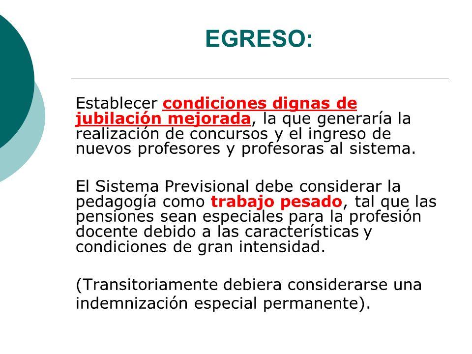 EGRESO: Establecer condiciones dignas de jubilación mejorada, la que generaría la realización de concursos y el ingreso de nuevos profesores y profeso