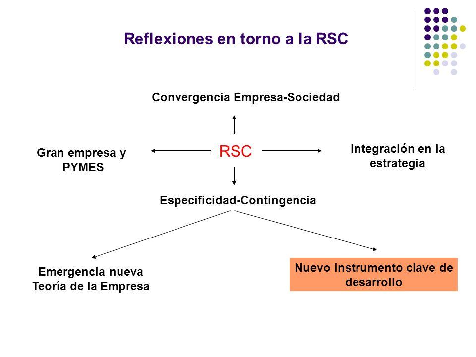 Reflexiones en torno a la RSC RSC Integración en la estrategia Gran empresa y PYMES Convergencia Empresa-Sociedad Especificidad-Contingencia Emergencia nueva Teoría de la Empresa Nuevo instrumento clave de desarrollo