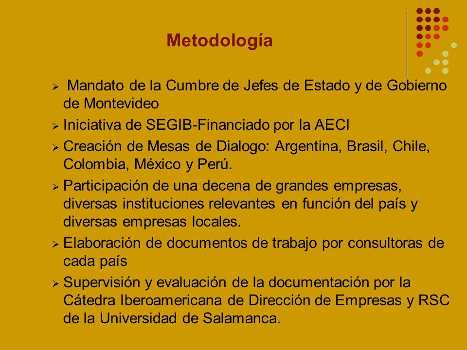 Metodología Mandato de la Cumbre de Jefes de Estado y de Gobierno de Montevideo Iniciativa de SEGIB-Financiado por la AECI Creación de Mesas de Dialogo: Argentina, Brasil, Chile, Colombia, México y Perú.