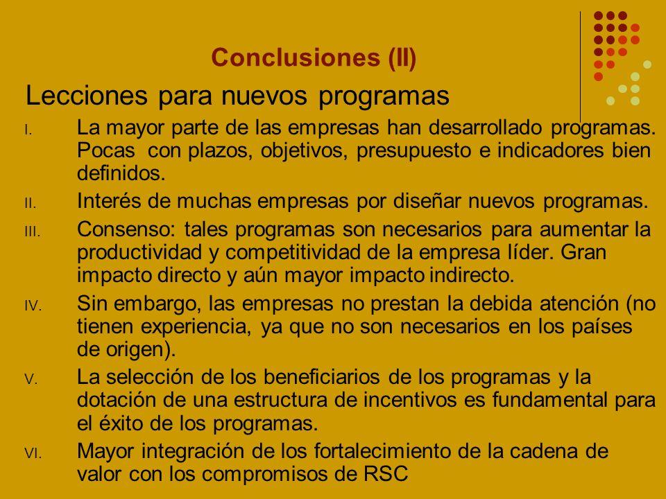 Conclusiones (III) Sugerencias para la política pública I.