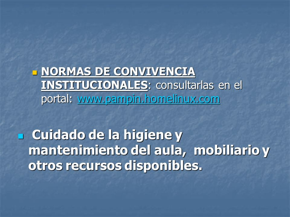 NORMAS DE CONVIVENCIA INSTITUCIONALES: consultarlas en el portal: www.pampin.homelinux.com NORMAS DE CONVIVENCIA INSTITUCIONALES: consultarlas en el p