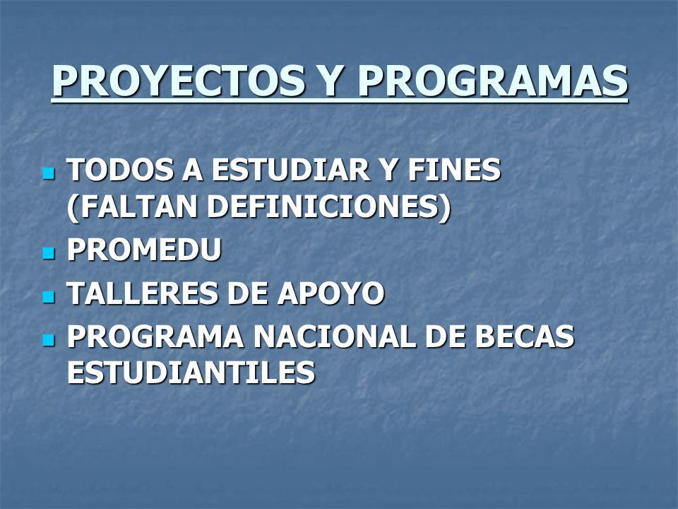 PROYECTOS Y PROGRAMAS TODOS A ESTUDIAR Y FINES (FALTAN DEFINICIONES) TODOS A ESTUDIAR Y FINES (FALTAN DEFINICIONES) PROMEDU PROMEDU TALLERES DE APOYO