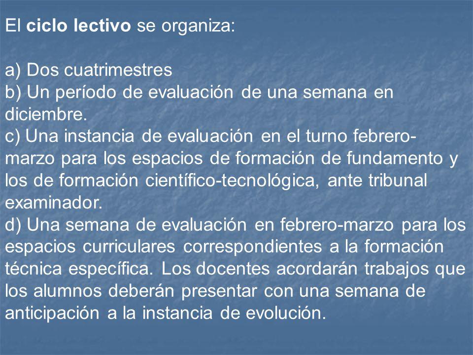 El ciclo lectivo se organiza: a) Dos cuatrimestres b) Un período de evaluación de una semana en diciembre. c) Una instancia de evaluación en el turno